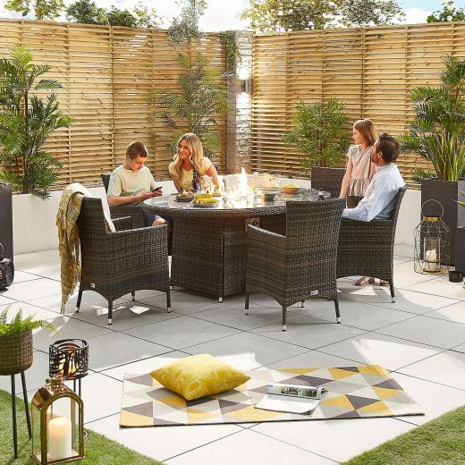 Nova - Amelia Fireglow 6 Seat Rattan Dining Set - 1.8m x 1.2m Oval Gas Fire Pit Table - Brown