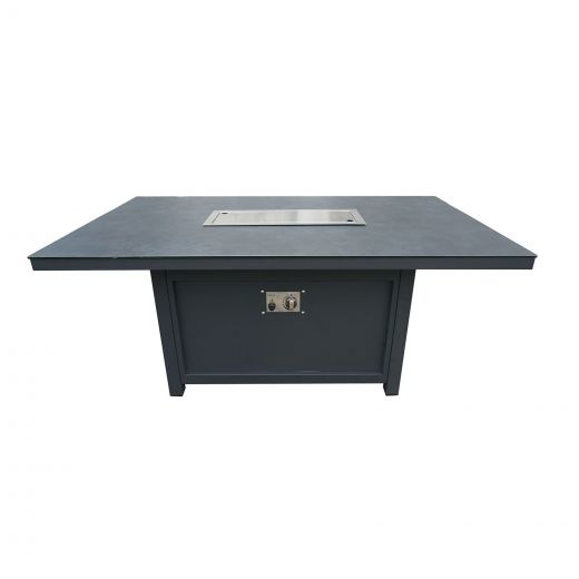 Vogue Aluminium 140cm x 85cm Rectangular Firepit Table - Grey Frame