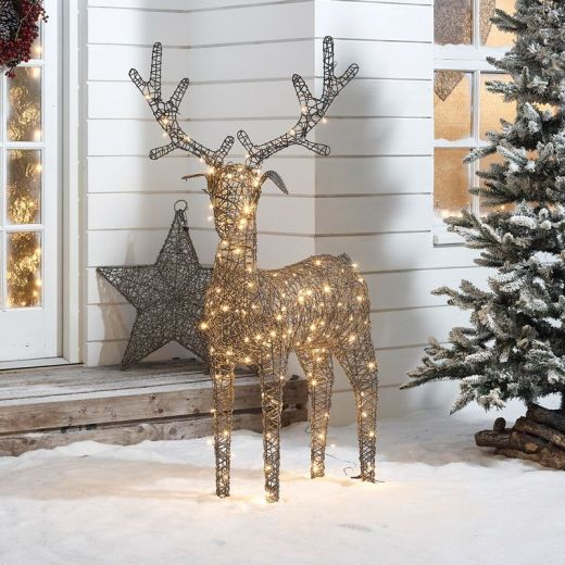 Ralph the 150cm Grey Rattan Christmas Reindeer