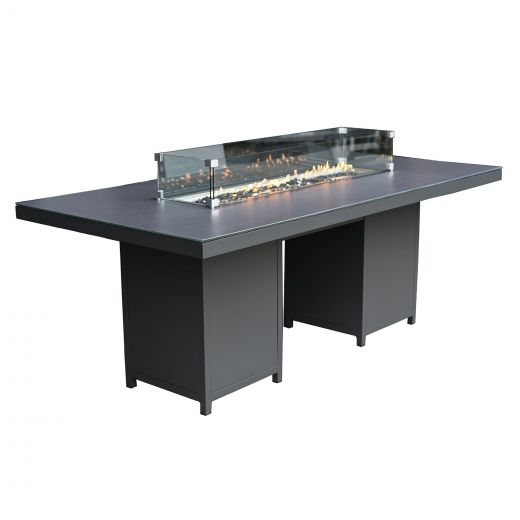 Rectangular Aluminium Firepit Dining Table - 2m x 1m - Grey Frame