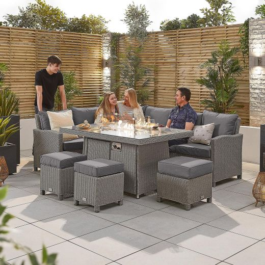 Ciara Left Hand Casual Dining Corner Sofa Set with Firepit Table - White Wash