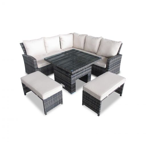 Compact Cambridge Casual Dining Corner Sofa Set with Rising Table - Brown