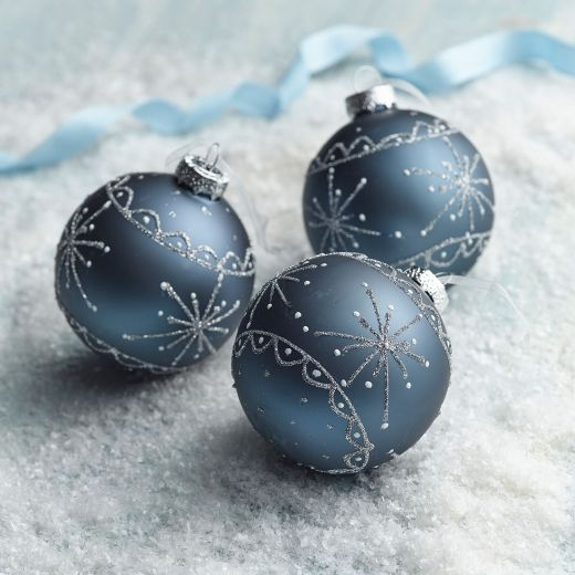 Ice Adventure Set of 3 Night Blue Snowflake Shatterproof Baubles