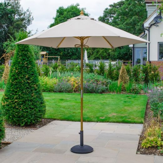 Dominica 2.5m Round Wooden Parasol - Pulley Operated - Natural