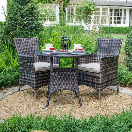 Amelia 2 Seat Bistro Set - 75cm Round Table - Brown