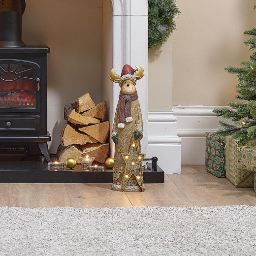 Fawna the 53cm Reindeer with LED Gold Star