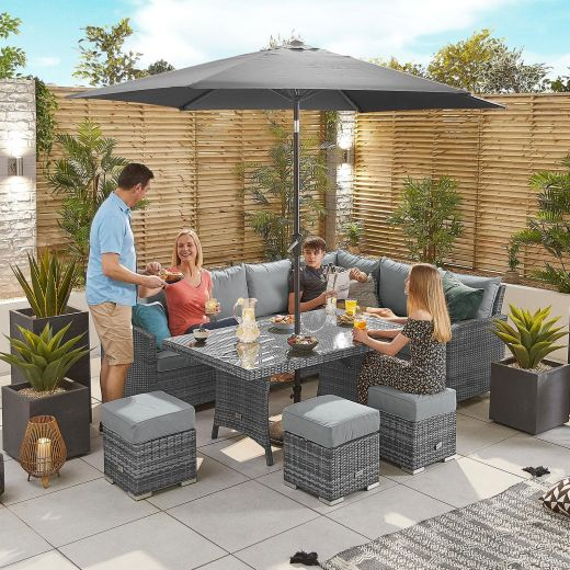 Cambridge Right Hand Casual Dining Corner Sofa Set with Parasol Hole - Grey