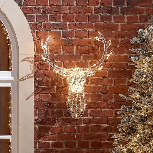 Raindrop the 80cm Soft Acrylic Christmas Reindeer Head - Warm White
