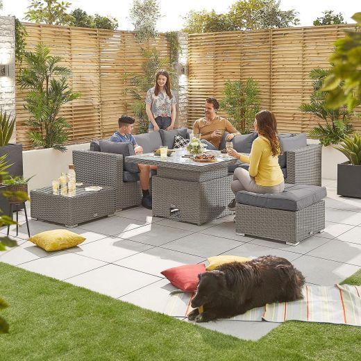 Heritage Chelsea 1B Corner Sofa Set with Rising Table - White Wash