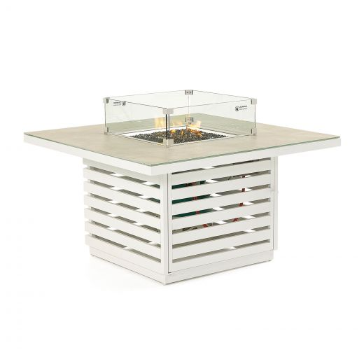 San Marino Aluminium Firepit Table - White Frame