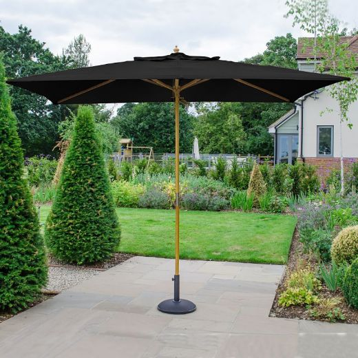Dominica 3m x 2m Rectangular Wooden Parasol - Pulley Operated - Black