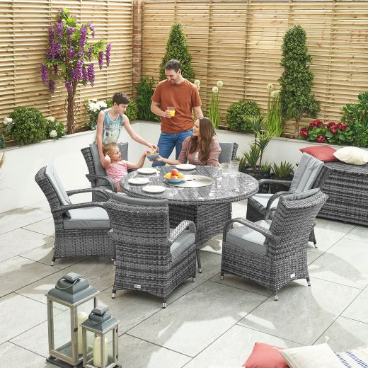 Olivia 6 Seat Rattan Dining Set with Ice Bucket - 1.35m Round Table - Grey