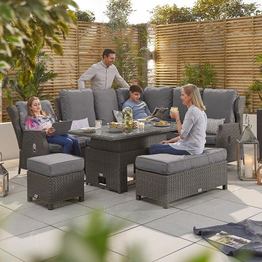 Skylar 2A Reclining Casual Dining Corner Sofa Set with Rising Table - Slate Grey