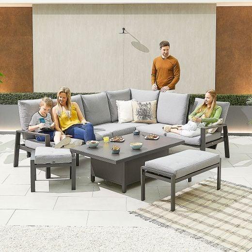 Enna Right Hand Aluminium Reclining Casual Dining Corner Sofa Set with Rising Table & Bench & Footstool - Grey Frame