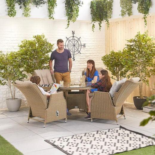 Carolina 4 Seat Dining Set - 1.2m Round Table - Willow
