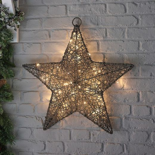 Ringo the 70cm Grey Rattan Christmas Star - Battery Operated