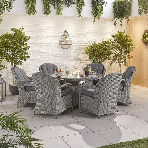 Leeanna 6 Seat Dining Set - 1.5m Round Firepit Table - White Wash
