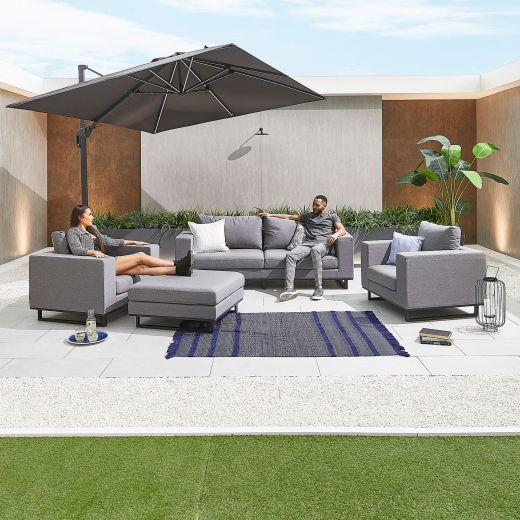 Nova - Eden Outdoor Fabric 2 Seater Sofa Set with Footstool - Flanelle