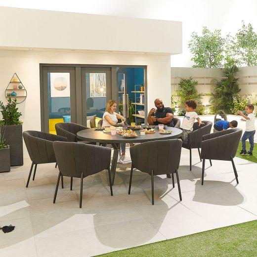 Edge Outdoor Fabric 8 Seat Round Dining Set - Dark Grey
