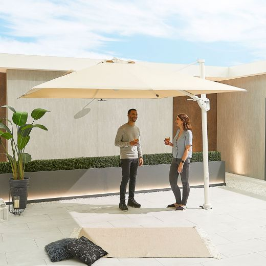 Galaxy 3m x 3m Square White Frame Cantilever Parasol with LED Lights - Beige