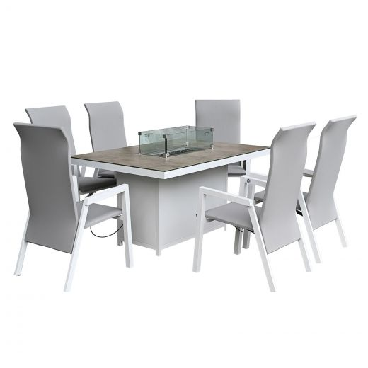 Venice 6 Seat Dining Set - 1.5m x 1m Rectangular Firepit Table - White Frame