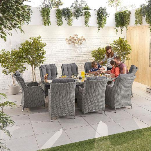Thalia 8 Seat Dining Set - 2.3m x 1.2m Oval Table - Slate Grey