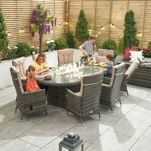 Ruxley 8 Seat Dining Set - 2m x 1.2m Oval Firepit Table - Brown