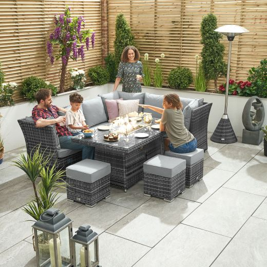 Cambridge Right Hand Reclining Casual Dining Corner Sofa Set with Firepit Table - Grey