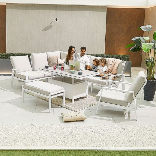 Enna Left Hand Aluminium Reclining Casual Dining Corner Sofa Set with Rising Table & Armchair & Bench - White Frame