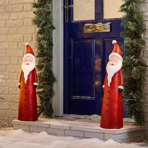 Pair of 72cm Father Christmas Santa Figures