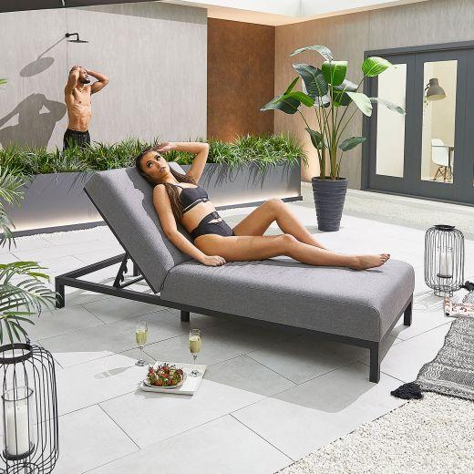 Sunny Outdoor Fabric Sun Lounger - Light Grey