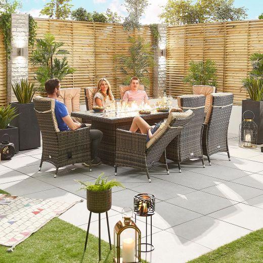 Ruxley 8 Seat Dining Set - 2m x 1m Rectangular Firepit Table - Brown