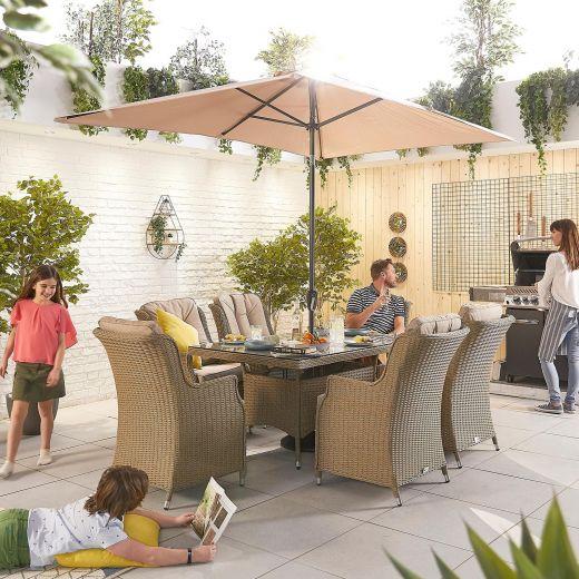 Thalia 6 Seat Dining Set - 1.5m x 1m Rectangular Table - Willow