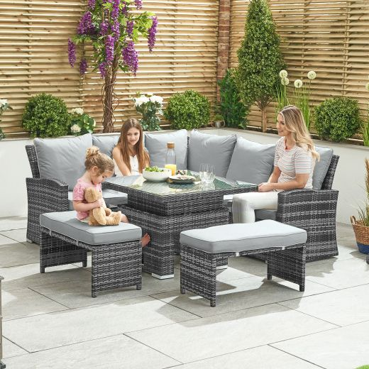 Compact Cambridge Casual Dining Corner Sofa Set with Rising Table - Grey