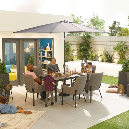 Genoa Outdoor Fabric 6 Seat Rectangular Dining Set - Light Grey