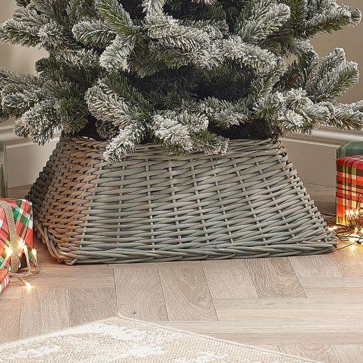 60cm Square Willow Christmas Tree Skirt - Grey