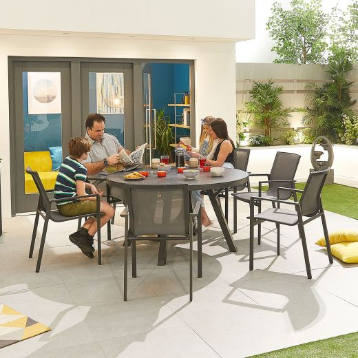 Milano 6 Seat Dining Set - 1.4m Round Table - Grey Frame