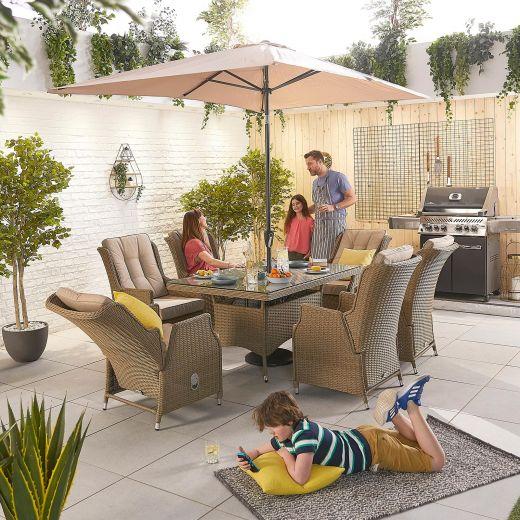Carolina 6 Seat Dining Set - 1.5m x 1m Rectangular Table - Willow