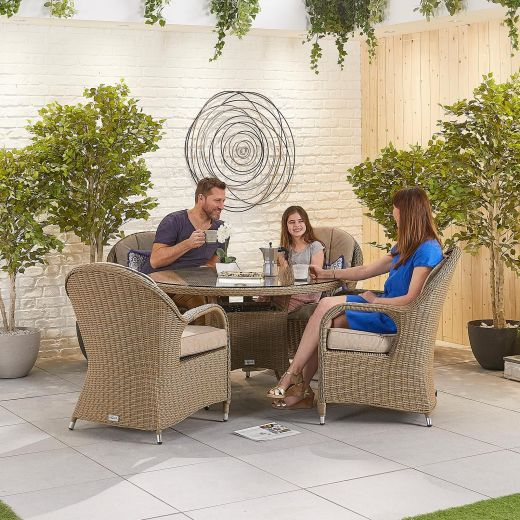 Leeanna 4 Seat Dining Set - 1.2m Round Table - Willow