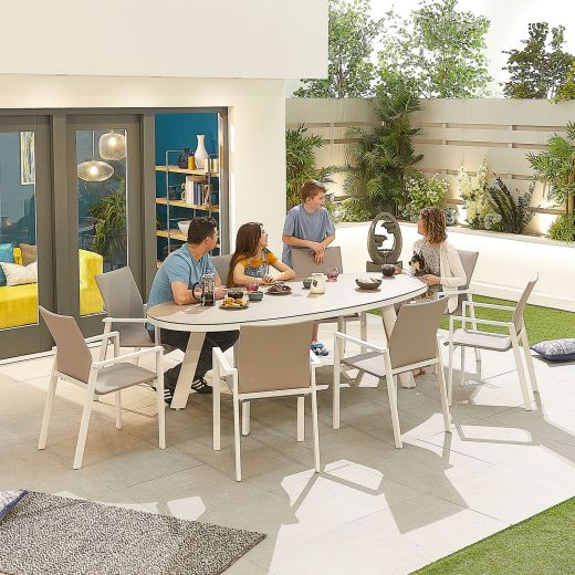 Roma 8 Seat Dining Set - 2.3m x 1.1m Oval Table - White Frame
