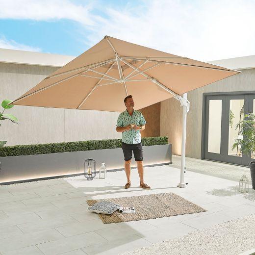Genesis 3m Square White Frame Aluminium Cantilever Parasol - Crank & Tilt - Beige Canopy