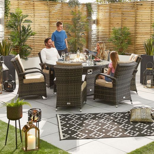 Olivia 6 Seat Dining Set - 1.5m Round Firepit Table - Brown