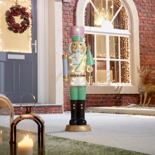 Noel the 3ft Pastel Blue Christmas Nutcracker with Tree