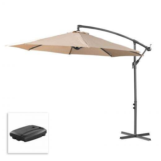 Barbados 3m Round Cantilever Parasol with 60L Cantilever Base - Beige