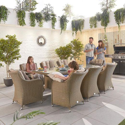 Camilla 8 Seat Dining Set - 2m x 1m Rectangular Table - Willow