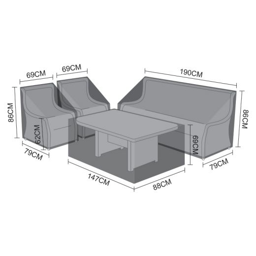 Cover Pack for Oyster 3 Seater Sofa Dining Set