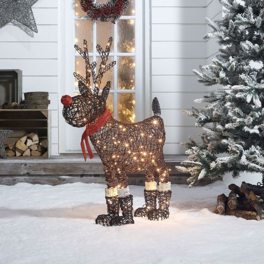 Rudolph the 100cm Brown Rattan Christmas Reindeer