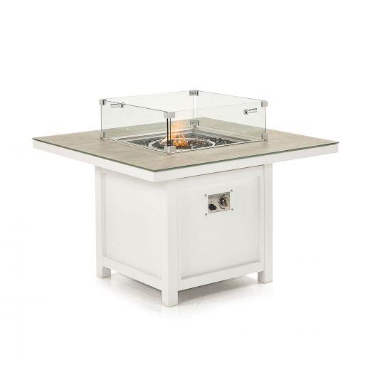 Vogue Aluminium 1m x 1m Square Firepit Table - White Frame