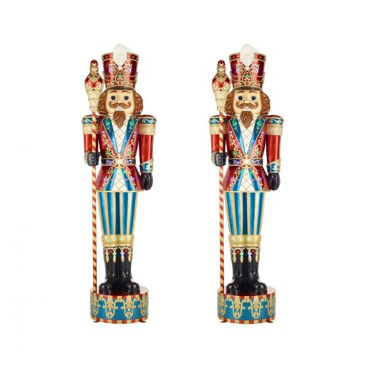 Pair of Giant 10ft LED Musical Commercial Nutcrackers - Multi Coloured