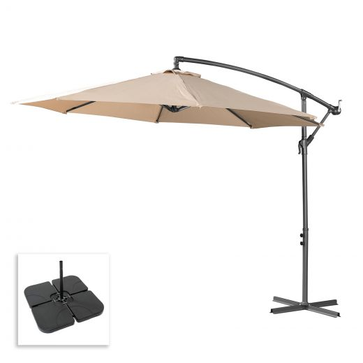 Barbados 3m Round Cantilever Parasol with Square Base Slabs - Beige